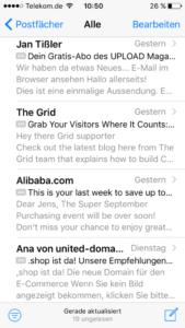 Screenshot iPhone Mail Beispiel E-Mail Betreffzeile