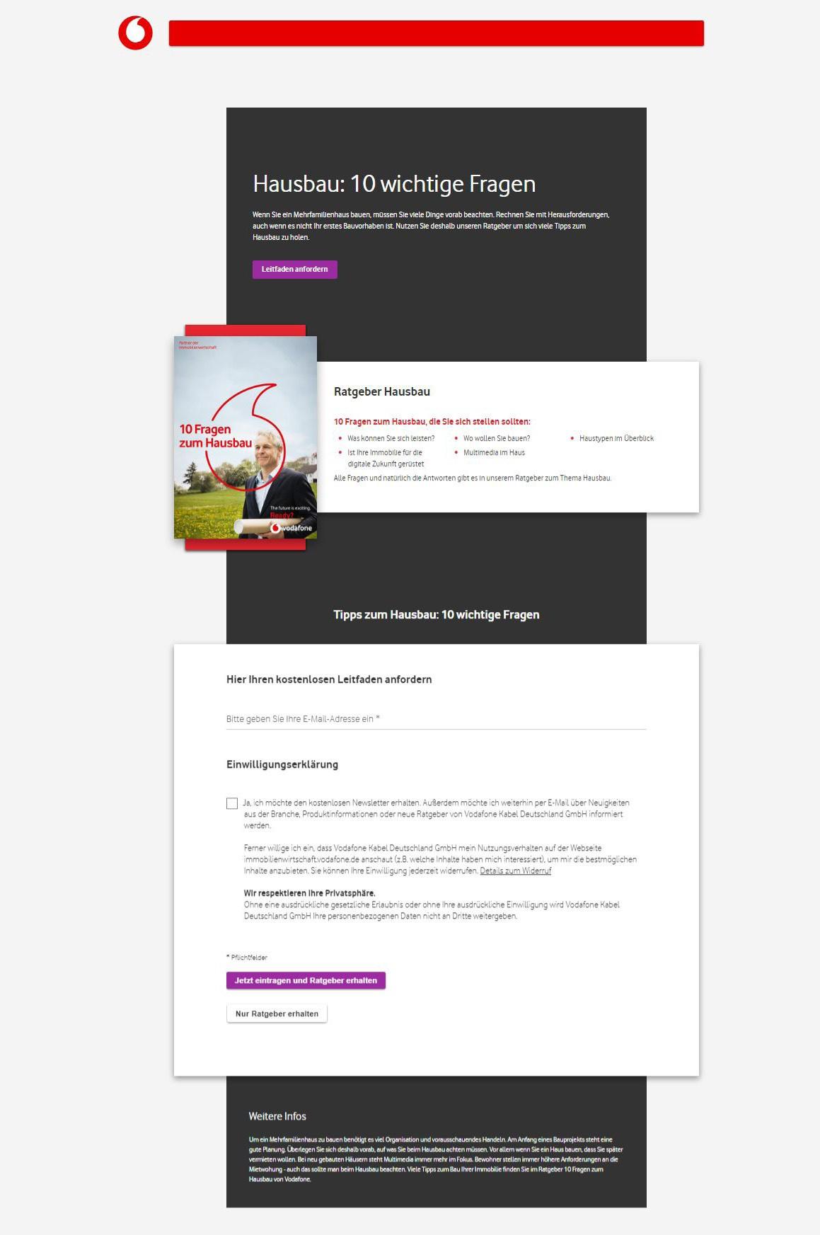 """Beispiel-Landingpage zum Leitfaden """"Hausbau: 10 wichtige Fragen"""". Quelle: Vodafone."""