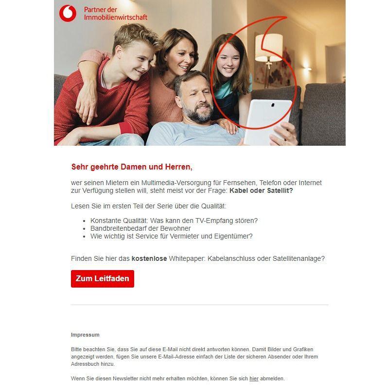 Beispiel Newsletter: Mit Evalanche kontaktiert Vodafone Interessenten rechtskonform. Quelle: Vodafone.