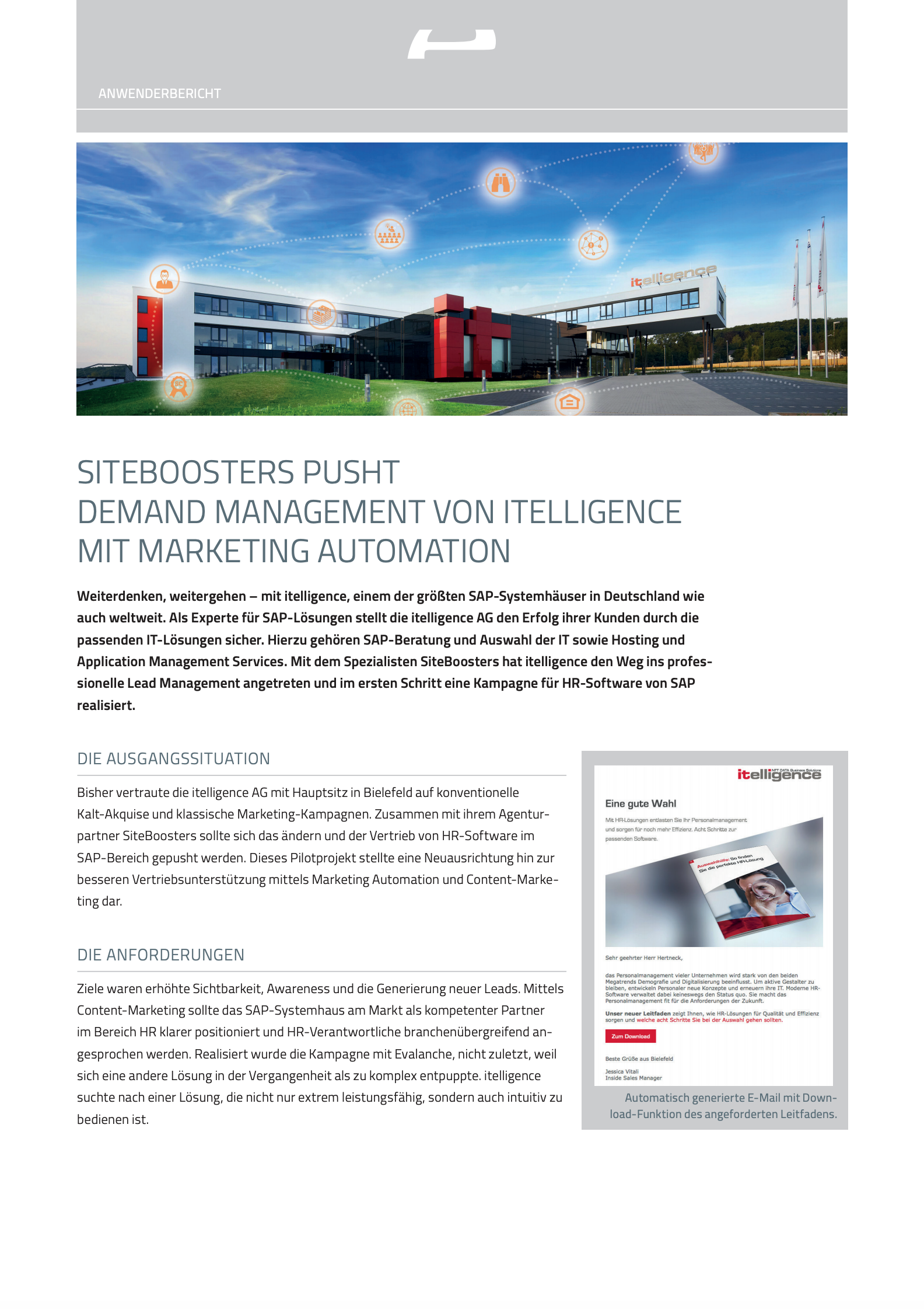Siteboosters pusht Demand Management von Itelligence mit Marketing Automation