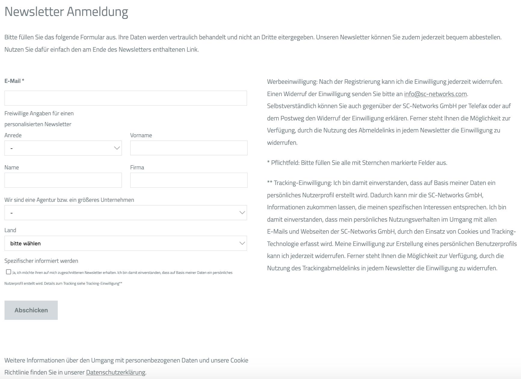 Newsletter DSGVO konformes Ameldeformular
